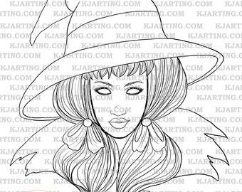 Farseer Witch Digital Stamp (Line_Art Printable_00072 KJArting)