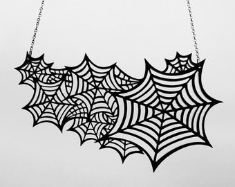 Oh What a Tangled Web We Weave Necklace - Spider Webs Necklace - Laser Cut Acrylic (C.A.B. Fayre Original Design)