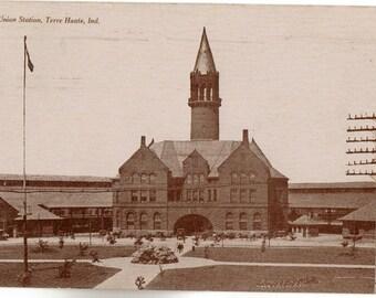 Vintage Postcard, Terre Haute, Indiana, Union Railroad Station, ca 1910
