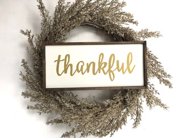 Thankful Handcrafted Wooden Sign // Thanksgiving Sign // Thanksgiving Decor // Gold Fall Sign // Gold Fall Decor