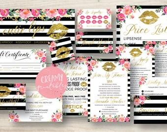 Lipsense business card bundle, tips and tricks, application instructions, loyalty, thank you, marketing branding kit, Stripe Flower