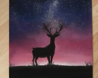 Deer at Night with Soft Pastels