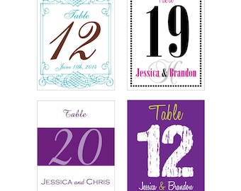 1-18 Table Numbers Wine Bottle Labels - many designs to choose from -  change design to any color, size, etc