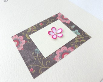 Pink Flower Birthday Card - Tiny 3D Flower Card - Luxury Card - Greetings Card - OOAK card - Any Occasion.