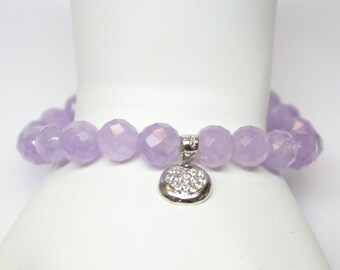 Genuine Lavender Amethyst Beaded Bracelet with Sterling Silver Cubic Zirconia Heart Charm