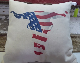 Decorative pillow, Family pillow, Farmhouse pillow, Americana, Longhorn Americana, Handmade