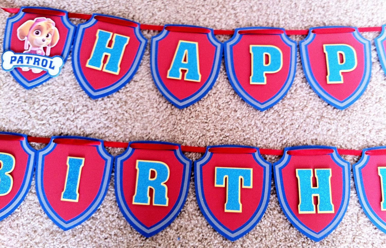 Paw Patrol Happy Birthday Banner Party