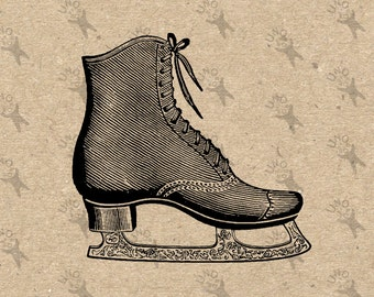Vintage image Skates Skating Black and White Retro Drawing Instant Download Digital printable clipart graphic iron on tote towels HQ 300dpi