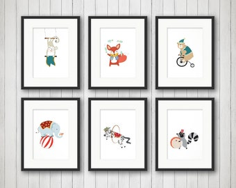 Circus Nursery Art, Elephant Nursery Art, Circus Nursery Decor, Kids Circus Room