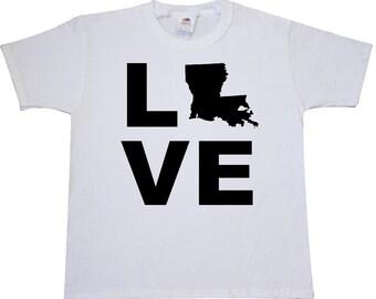 Love Louisana Youth T-Shirt by Inktastic