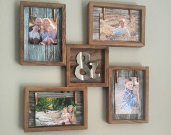 rustic picture frames collages. Rustic Home Decor, Reclaimed Wood Photo Collage With Mini Metal Ampersand, Frame, Picture Frames Collages