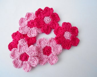 Pink cotton and 5cm handmade fuchsia hand crochet flowers