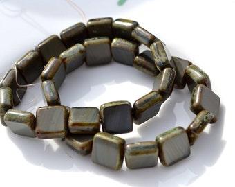 Dark Stormy Grey Square Czech Glass Beads  15