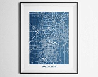 Fort Wayne, Indiana Abstract Street Map Print