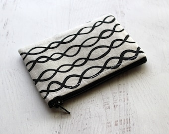 zip pouch - change purse - Small zippered pouch - squiggly lines print bag - under 10 gift ideas - change purse - bag organizer - pouch