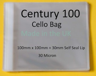 Century 100 Cello Bags - 100mm x 100mm + 30mm Self Seal Lip Clear Cello Display Bags - 30 Micron