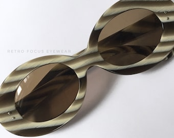 Dirty Blonde French 60's Rare Round Non Prescription Sunglasses Made in France Eyewear Glasses Eyeglasses Frames Vintage Horn Brown Stripe