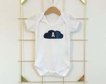 Short sleeve Personalised Cloud Initial Babygrow Vest Bodysuit