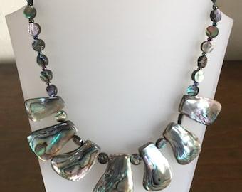 Handmade Bold Chunky statement Abalone Necklace