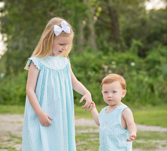 Girls Monogrammed Dress, Seafoam / Mint Gingham Perfect for Family Beach Photos, boys matching jon jon available