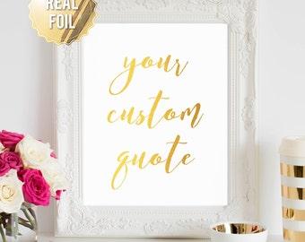 Custom Gold Foil Print - Gold Foiled Print - Custom Print - Foil Quote Print - Personalized Print - Gold Foil Wall Art - AKAFoils Font 2