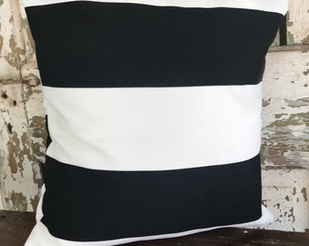 Pillow, Throw Pillow Cover, Decorative Pillow Cover Black and White Stripes Outdoor
