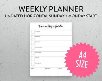 A4 Undated Weekly Planner Printable Page, Horizontal Layout, PDF, Sunday Monday Start, Weekly Schedule, Weekly Agenda,