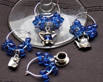Set of 4 Tea Set Wine Glass Charms