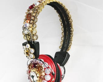 Headphones Dolce Style Crown Baroque Red Gold Swarovski Headpiece Couture Bling Custom Tiara Rhinestone Party Costume Best Holiday Gift Idea