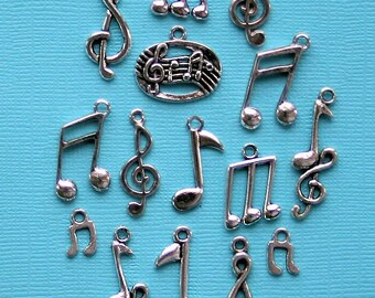 Music Notes Charm Collection Antique Silver Tone 15 Charms - COL268
