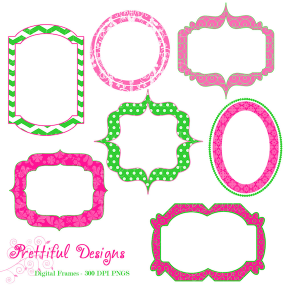Items similar to Fancy Digital Frames Hot Pink Lime Green Clip Art ...