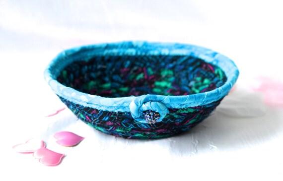 Indigo Artisan Basket, Electric Blue Basket, Handmade Azure Blue Ring Dish, Decorative Bowl, Key Holder Tray, Catchall, Jewelry Bowl