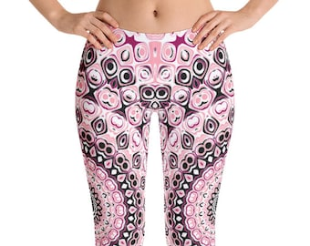 Black and Pink Leggings Yoga Pants, Printed Yoga Tights for Women, Girly Mandala Art