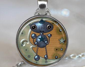 Moon Robot pendant, Robot necklace, Robot jewelry, Geek jewelry. Geek necklace Robot keychain key chain key ring key fob