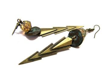 ON SALE Lightening Bolts Long Earrings Dangle Brass Earrings Boho Earrings Modern Bohemian Jewelry lightening jewelry large gypsy earrings