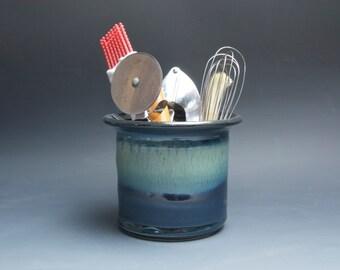 Handcrafted ceramic stoneware kitchen utensil holder blue 4242