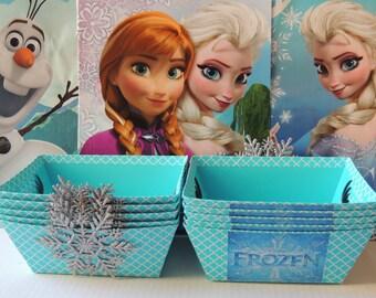 10 Pieces Elegant Frozen Elsa Anna Birthday Favor Goody Baskets Bags w/ Sparkly Snowflakes