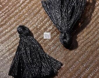 charm diameter black cotton 25x5mm 10 tassels