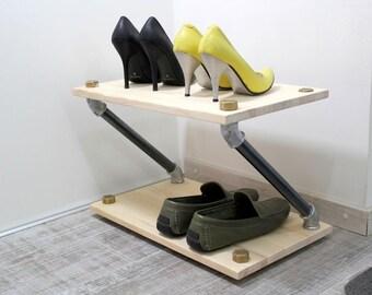 Industrial shoe rack, wooden shoe rack, shoes organizer, loft shelf,metal pipe shelf, entryway shoe stand, shoe storage, minimalist rack