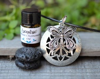 Lava Stone Celtic Essential Oil Diffuser Necklace- Butterfly-2ml Essential Oil -Aromatherapy