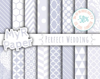 "SALE 50% Wedding Digital Paper: ""Perfect Wedding"" Digital Paper Pack and Backgrounds, Chevron, Damask, Stripes and Polka Dots, Dust Color"