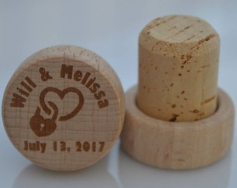 Personalized Wine Stoppers, Custom Wine Stopper, Engraved Wood Wine Stoppers,Customized Wine Cork, Wedding Party, Wedding Favor, Model 8