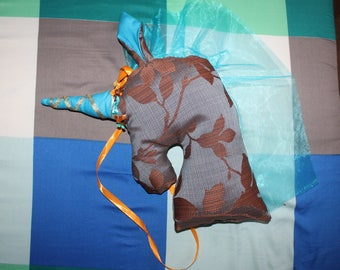 NEW - The Unicorn hanging fabric blue brown tones
