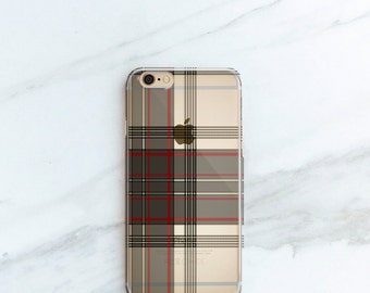 Plaid iPhone Case Clear iPhone 7, 6S, Plus Tartan Pattern Personalized Fall Fashion Gift for Her or Him