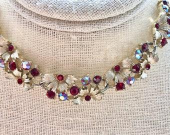 Vintage Lisner AB Red Rhinestone Leaves Bridal Bridesmaid Wedding Prom Art Deco Gold Necklace Doodaba