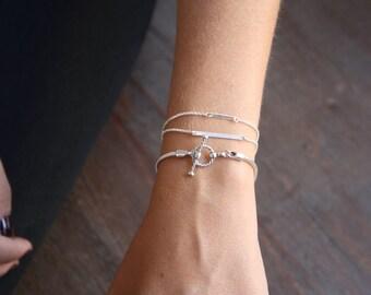 Dainty sterling silver bracelets, Stacking silver bracelets, Silver Bar Bracelet, Dainty silver bar bracelet,Simple everyday silver bracelet