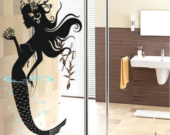 50% BIG SALE  mermaid flowers bedroom----Removable Graphic Art wall decals stickers home decor