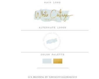 Pre made mini logo branding package -Gold foil main logo- Watermark design-by whitecottagedesignco