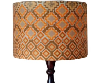 Geometric Hexagon Drum Lampshade, 30cm African print Lamp shade, READY TO SHIP, Olive Green Peachy Tropical Home Decor, Detola and Geek