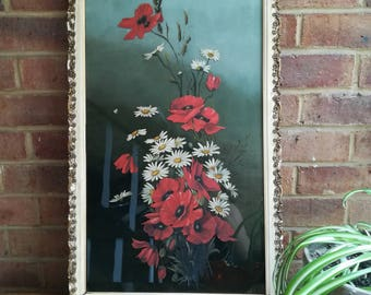Beautiful Vintage Oil on Glass Painting of Poppies and Daisies